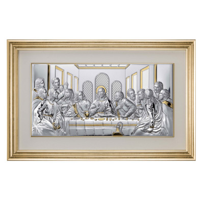 Icoana din Argint 50×24.5 cm Cina Cea De Taina cu rama Aurie COD: 3354 foto