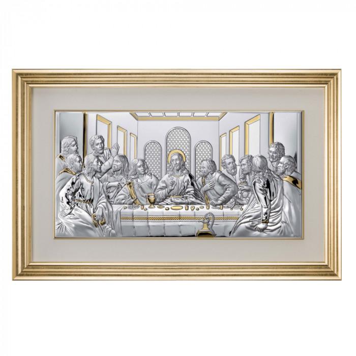 Icoana din Argint 50×24.5 cm Cina Cea De Taina cu rama Aurie COD: 3354