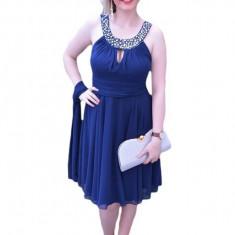 Rochie fina de culoare bleumarin, model scurt de gala, din voal
