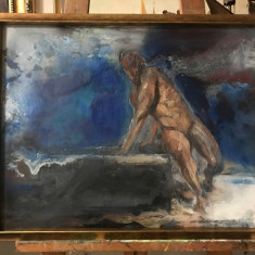 23 Nud barbat, tablou cu peisaj la tarmul marii, peisaj main abstract, 53x68 cm