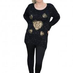 Bluza moderna cu design transparent in fata, auriu pe fond negru