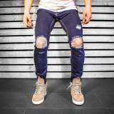 Blugi pentru barbati bleumarin slim fit conici casual skinny rupturi genunchi 0056
