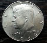 (M634) MONEDA DIN ARGINT SUA - HALF DOLLAR 1964, KENNEDY, PURITATE 900/1000, America de Nord