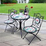 Set 2 scaune si masa din mozaic interior/exterior terasa/gradina modern