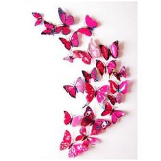 Fluturi 3D magnet, decoratiuni casa, evenimente, set 12 bucati, rosu trandafiriu