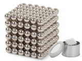 Joc Bile Magnetice NeoCube Antistres, 216 piese, Diametru Bile 5mm, argintiu