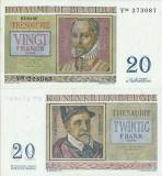 1956 ( 3 IV ) , 20 francs ( P-132b ) - Belgia - stare UNC