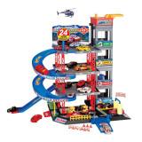 Set de joaca parcare cu 4 masini Toys, elicopter inclus, Oem