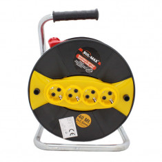 Cumpara ieftin Prelungitor cu tambur Micul Fermier, 40 m, 3 x 2.5 mm, 4 prize, maner transport