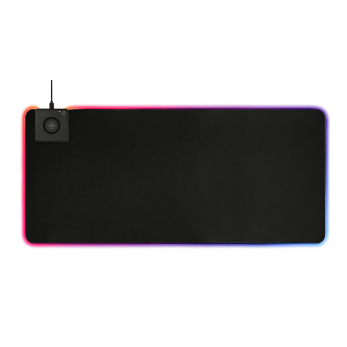 Mousepad gaming Extra Wide RGB Deltaco Gaming, 900x400cm cu incarcator wireless fast charge integrat, Negru