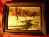 Tablou Peisaj de iarna -ulei pe carton , dim.=16,8x11,7cm fara rama