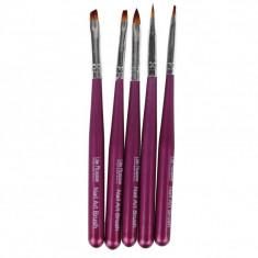 Set pensule pentru unghii Lila Rossa NBS05D, 5 piese, maner lemn