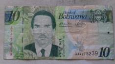 BANCNOTA 10 PULA (ND)-BOTSWANA foto