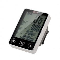 Ciclocomputer Vitezometru Wireless Bicicleta cu Touch Screen, rezistent la apa, cu 24 functii, Edman Bogeer YT-308, Gri