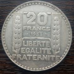 (A131) MONEDA DIN ARGINT FRANTA - 20 FRANCS 1933, 20 GRAME, PURITATE 680/1000