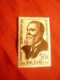 Serie Franta 1959 - Personalitati -100 Ani J.Jaures -lider socialist , 1 val., Nestampilat