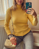 Pulover dama ieftin gros galben reiat model simplu pe gat