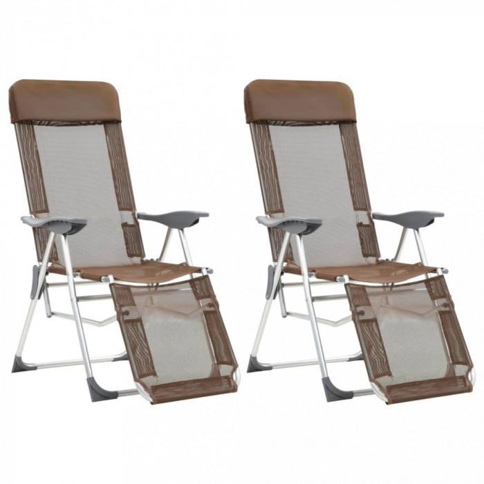 vidaXL Scaune camping pliabile 2 buc taupe aluminiu suport picioare
