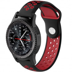 Curea ceas Smartwatch Samsung Gear S3, iUni 22 mm Silicon Sport Black-Red