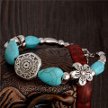 Bratara stil vintage cu pietre turcoaz, inimi, flori, mandala, masura reglabila