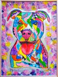 "Tablou pictura pitbull ""Joy"" animale caine, Acrilic, Abstract"