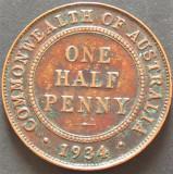 Moneda istorica HALF PENNY - AUSTRALIA, anul 1934  *cod 5213, Australia si Oceania