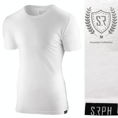Tricou pentru barbati alb slim fit elastic casual Premium foto