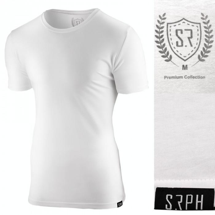 Tricou pentru barbati alb slim fit elastic casual Premium