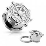 Plug tunel pentru ureche din oțel 316L, culoare argintie, cârmă cu zirconii - Lățime: 12 mm