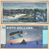 2001 ( 1 I ) , 50 dollars - Antarctica - stare UNC SPECIMEN