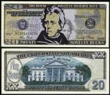 !!! SUA = FANTASY NOTE , PLAY  MONEY  =  20  DOLARI   2018  - UNC