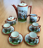Set / Serviciu - ceai / cafea - portelan Japonia - coaja de ou - 4 pers - 1925