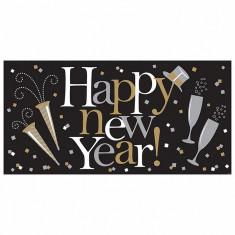 Banner decorativ pentru petrecere, Happy New Year, 165 x 80 cm, Amscan 120127, 1 buc