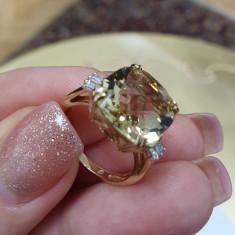 Inel din aur galben 14K cu diamante bagheta si cuart lemon