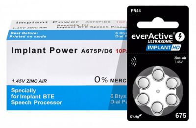 Baterii EverActive Implant HD 675 pentru proteze auditive 60 Baterii foto