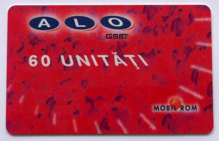 ROMANIA CARTELA ALO GSM 60 UNITATI CS DE LA RUE - PENTRU COLECTIONARI **