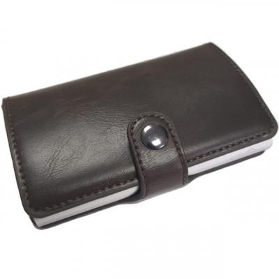 Portofel unisex, port card iUni P2, RFID, Compartiment 6 carduri, Brun inchis foto