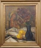 """Tablou, Leon Alexandru Biju, """" Natura statica cu icoana, stergar si flori """" , u/c"""