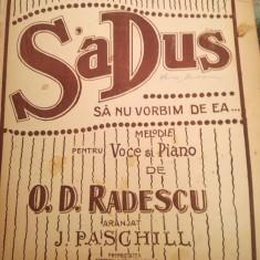 """Partitura interbelica  """"S-a dus. Sa nu vorbim de ea"""" voce si pian, J. Paschill"""