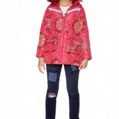 Geaca fete, cu imprimeu abstract Azalea, Desigual, Marimea 9-10 ani, Alta, Fuchsia