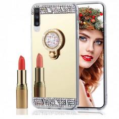 Husa silicon oglinda , pietricele si inel  Samsung Galaxy A70  Auriu