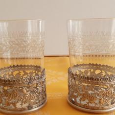 Doua superbe pahare cristal Baccarat in doua suporturi argintate, foarte vechi