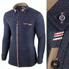 Camasa pentru barbati, bleumarin, flex fit, elastica, casual, cu guler - genesis, L, M, S, Maneca lunga