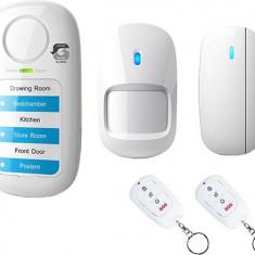 Set Alarma Wireless Fara Fir pentru Casa, 2 Telecomenzi Incluse