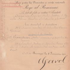 ROMANIA 1901 BREVET  SEMNAT  IN  ORIGINAL DE CAROL I  REGE  AL  ROMANIEI