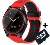 Cumpara ieftin Ceas Smartwatch cu Telefon iUni V9 Plus, Touchscreen, 1.3' HD, Camera 2MP, iOS si Android, Rosu + Card 4GB