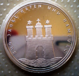 10.021 GERMANIA RFG HAMBURG 800 ANI ANIVERSARE 10 DEUTSCHE MARK 1989 J PROOF, Europa, Argint