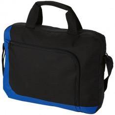 Geanta de documente, buzunar frontal cu fermoar, Everestus, SF03, poliester 600D, albastru, saculet si eticheta bagaj incluse