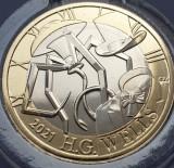 2 pounds 2021 Marea Britanie, H.G. Wells, Brilliant uncirculated, Coincard, Europa