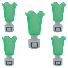 5 x Lampa de veghe, verde, cu intrerupator, lumina calda